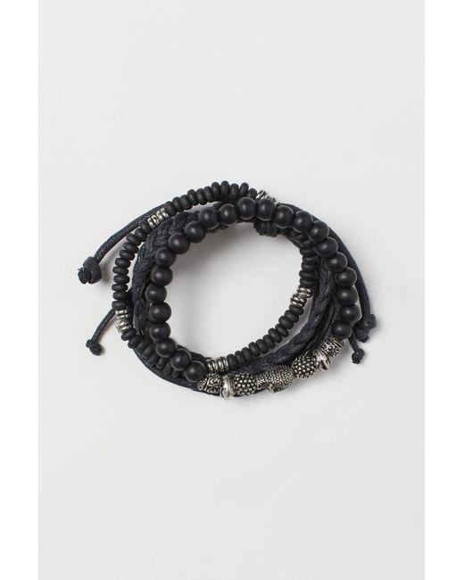 Bracelets, lot de 4 H&M pour homme en coloris Black