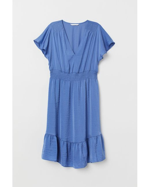 ee0678087522f H&M Mama Smocked Dress in Blue - Lyst