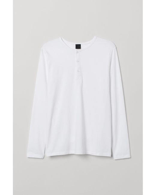 5f81e7be H&M Long-sleeved Top Muscle Fit in White for Men - Lyst