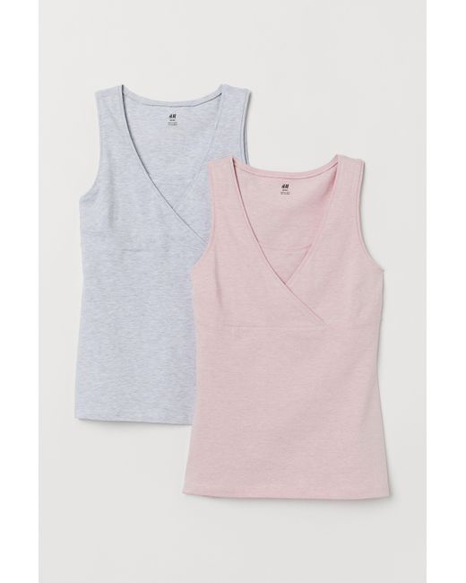 38c967ff689 Lyst - H M Mama 2-pack Nursing Tops in Pink