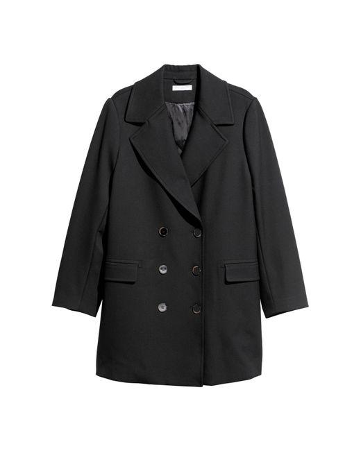 H&M - Black + Pea Coat - Lyst