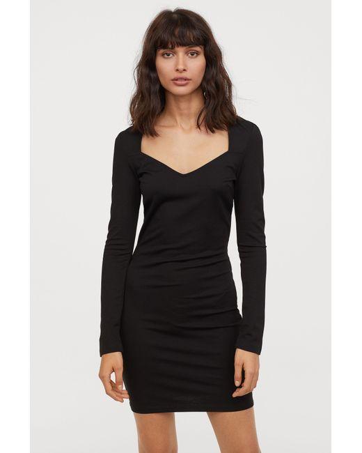 492fc000e1a6 Lyst - H&M Short Dress in Black