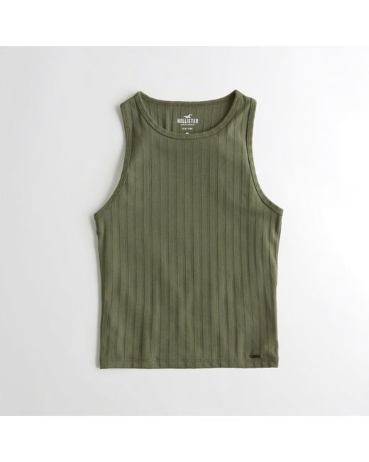 e14c57be322259 Lyst - Hollister Girls High-neck Slim Tank From Hollister in Green