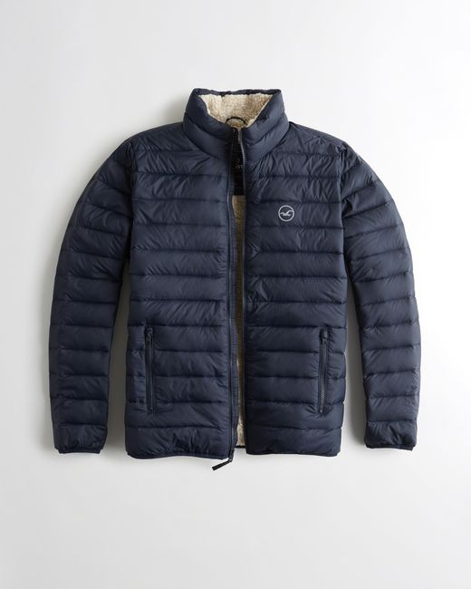 hollister sherpalined down puffer jacket in blue for men