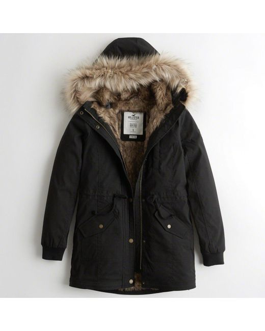 5f215f912 Hollister Girls Stretch Faux-fur-lined Parka From Hollister in Black ...