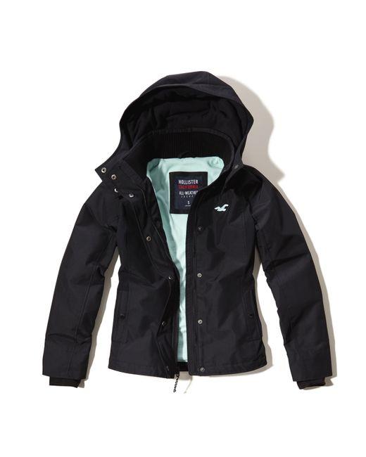 hollister allweather fleece lined jacket in black lyst
