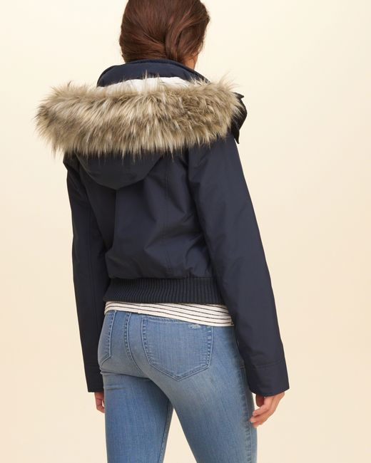 Hollister All Weather Sherpa Lined Bomber Jacket In Blue