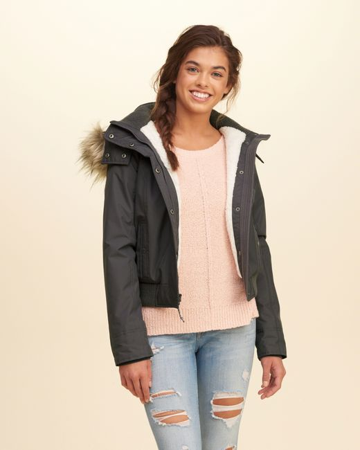 hollister all weather hooded bomber jacket in gray dark. Black Bedroom Furniture Sets. Home Design Ideas
