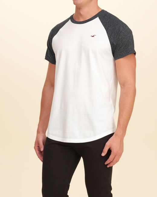 Hollister must have colorblock raglan t shirt in white for for Must have dress shirts