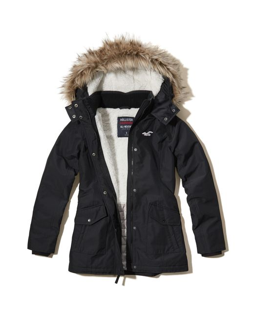 Hollister All Weather Sherpa Lined Parka In Black Lyst