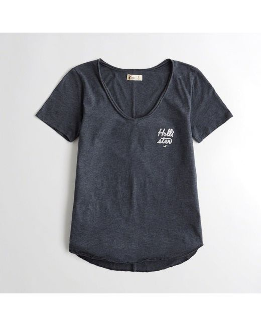 f65a5249 Lyst - Hollister Girls Metallic Graphic Tee From Hollister in Blue