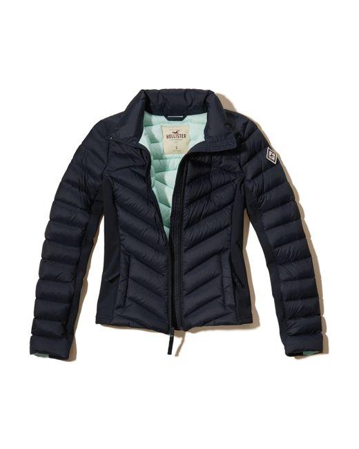 hollister lightweight down puffer jacket in blue lyst