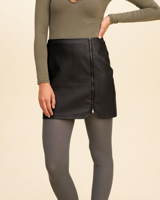 Hollister Zip-front Vegan Leather Mini Skirt in Black | Lyst