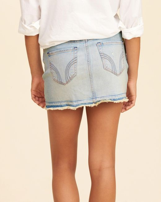 Hollister Button-front Low-rise Denim Mini Skirt in Blue - Save 65 ...