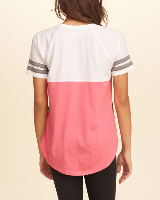 Tie Dye Rugrats Shirt Forever 21: Hollister Colorblock Logo Graphic Tee In Pink