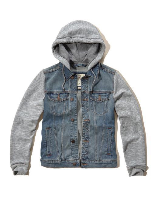 Hollister Sweaters Hollister Hoodies Hollister Shirts Hollister Jacket Hollister Pants Hollister Jeans: Hollister Hoodie Denim Jacket In Blue For Men