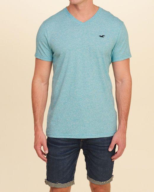 Hollister Must-have V-neck T-shirt in Blue for Men