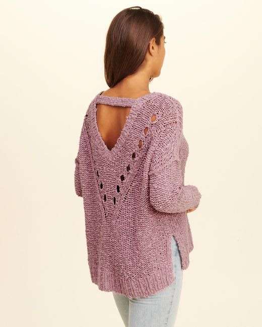 Hollister Oversized Open Back Sweater in Purple | Lyst