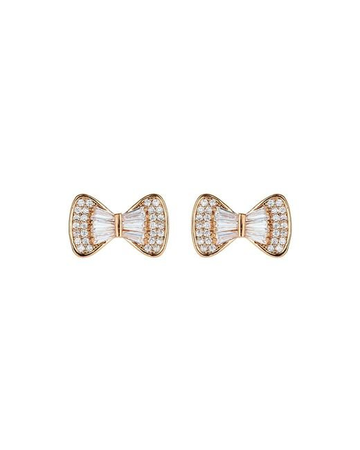Mikey | Metallic Bow Design Baugette Cubic Stud Earring | Lyst