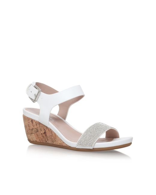Carvela Kurt Geiger | White Sparkle Mid Heel Wedge Sandals | Lyst