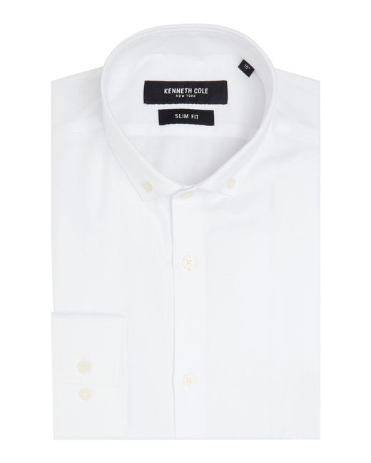Kenneth Cole   White Lacey Slim Fit Textured Shirt for Men   Lyst