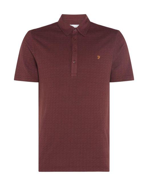 Farah   Red Men's Chelsea Jacquard Short Sleeve Polo for Men   Lyst