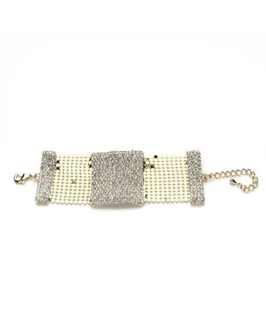 Mikey - Metallic Crystal Rectangle Design Bracelet - Lyst