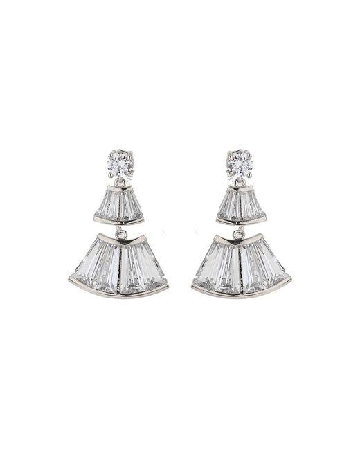 Mikey - Metallic Bell Design Cubic Baugette Drop Earring - Lyst