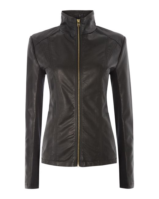 Andrew Marc | Black Pu Jacket With Central Zip | Lyst