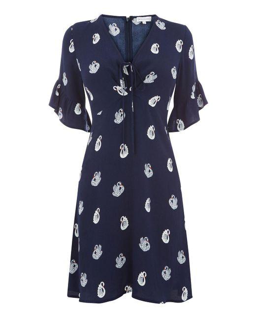 Warehouse | Blue Swan Print Dress | Lyst