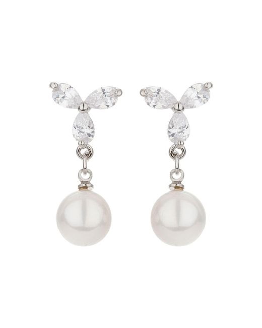 Mikey - White X Design Stud Pearl Drop Earring - Lyst
