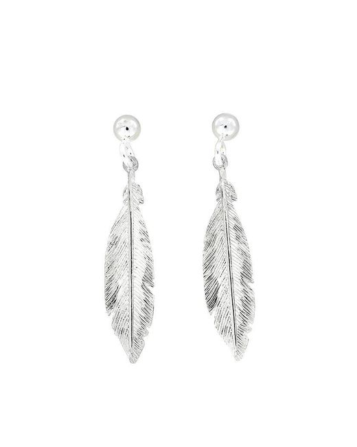 Azendi | Metallic Sterling Silver Feather Earrings | Lyst