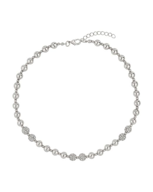 Mikey | Metallic Twin Crystal Ball & Metal Bead Necklace | Lyst