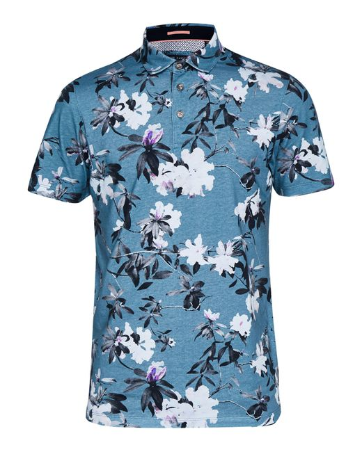 Ted Baker | Blue Floral Print Cotton Polo Shirt for Men | Lyst