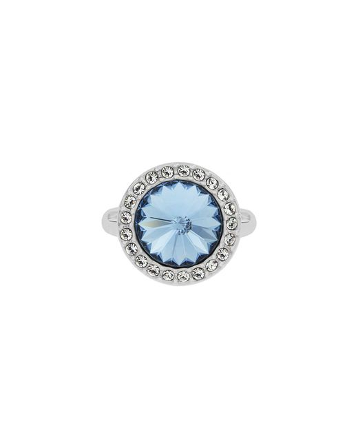Aurora Flash | Blue Rhodium Plated Round Crystal Ring | Lyst
