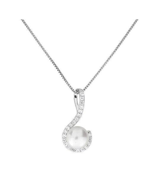 Azendi | White Pearl Pavé Curl Pendant | Lyst