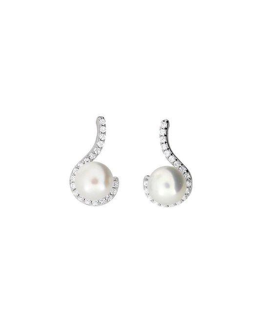 Azendi | Metallic Pearl Pavé Curl Earrings | Lyst