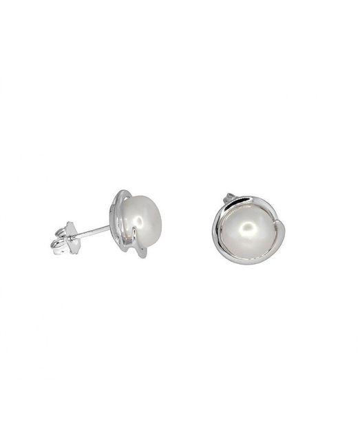 Azendi | Metallic Spiral Set Pearl Studs | Lyst