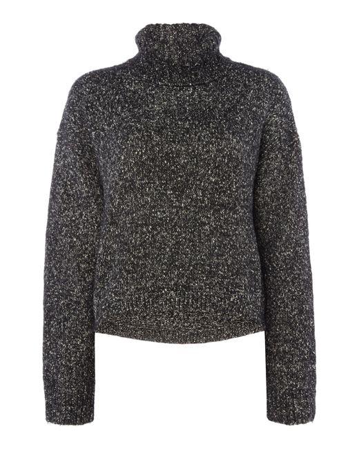 Calvin Klein | Black Long Sleeve Roll Neck Flecked Jumper | Lyst