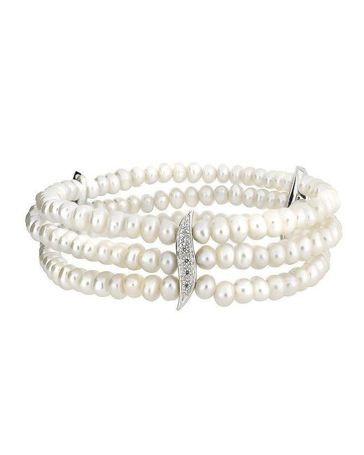 Azendi | Multicolor Pearl Triple Strand & Pavé Wave Bracelet | Lyst