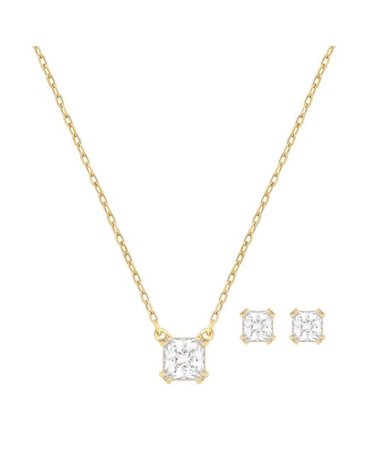 Swarovski | Metallic Attract Square Necklace & Stud Earrings Set | Lyst