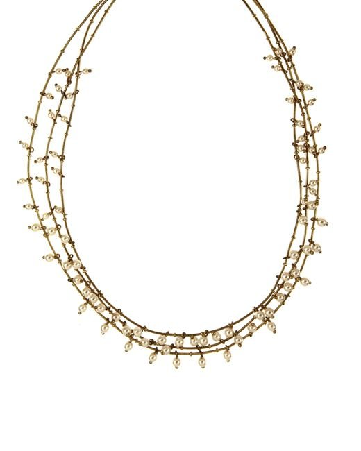 Anne Klein | Metallic Three Row Gold And Pearl Necklace | Lyst