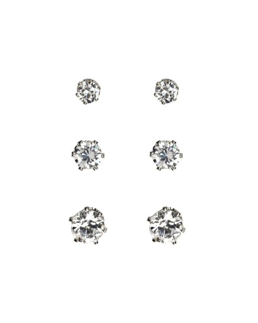 Anne Klein | Metallic Silver Cubic Zarconia Stud Earrings | Lyst
