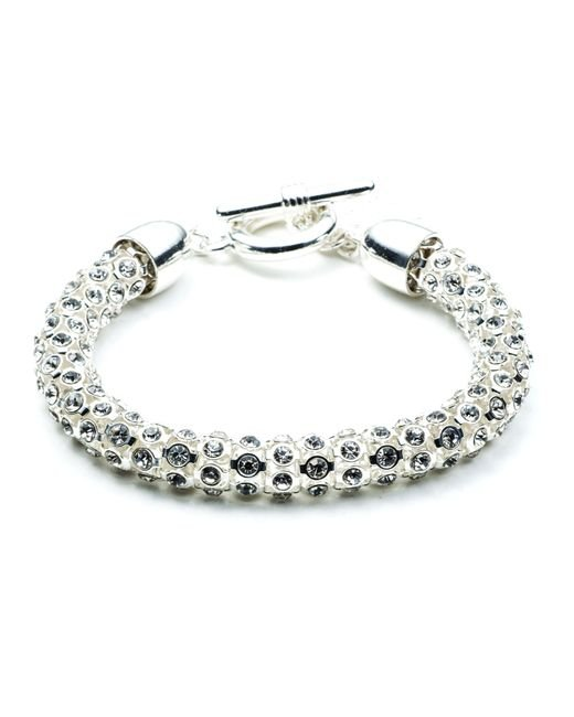 Anne Klein | Metallic Silver Tubular Crystal Toggle Bracelet | Lyst