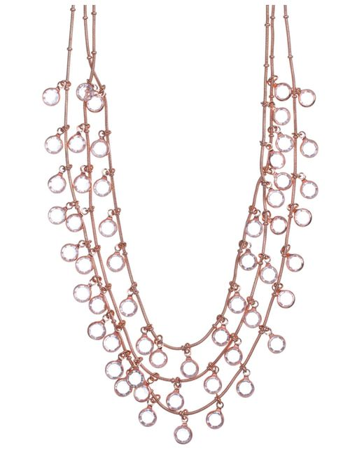 Anne Klein | Pink Long Gold Crystal Tubular Necklace | Lyst