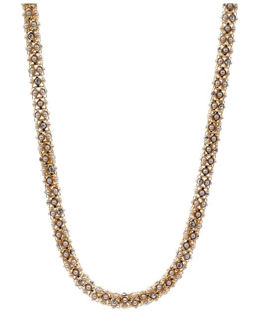 Anne Klein | Metallic Gold Tone And Pearl Tubular Necklace | Lyst