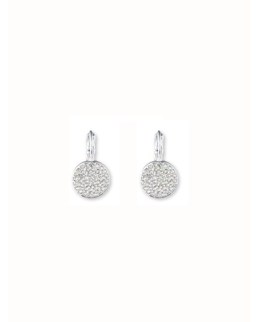 Anne Klein | Metallic Pave Drop Disc Button Earrings | Lyst