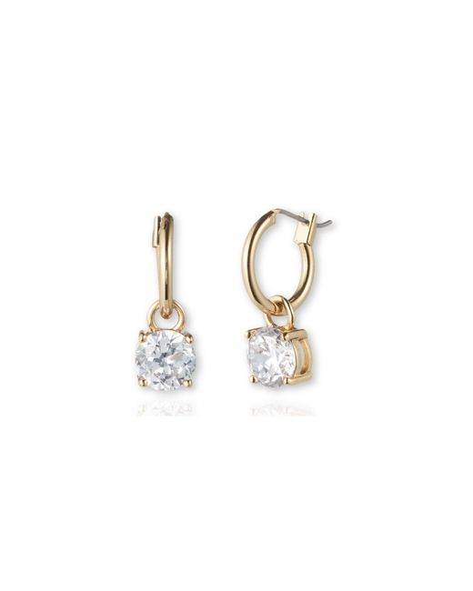Anne Klein   Metallic Stone Drop Hoop Earrings   Lyst