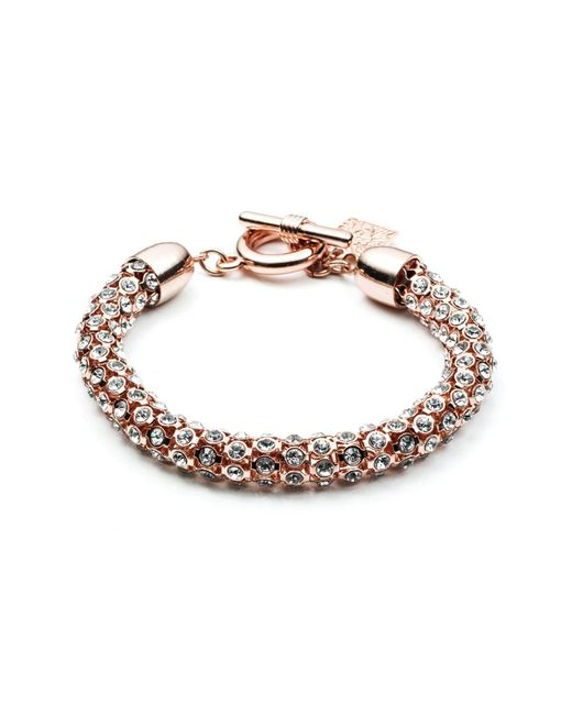 Anne Klein | Pink Rose Goldtone And Crystal Bracelet | Lyst