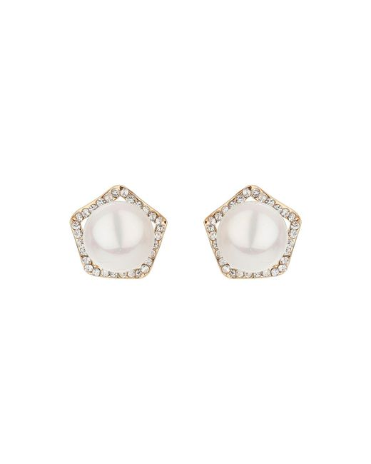 Mikey | White Pearl Centre Crystal Hexagon Stud | Lyst